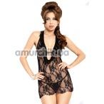 Комплект Carmen черный: комбинация + трусики-стринги