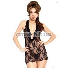 Комплект Carmen черный: комбинация + трусики-стринги - Фото №1