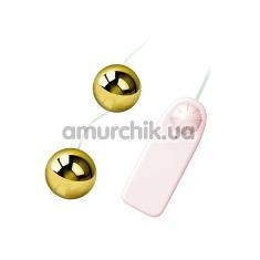 Вагинальные шарики с вибрацией Golden Ball, золотые - Фото №1