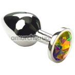 Анальная пробка с радужным кристаллом SWAROVSKI Silver Rainbow Middle, серебряная - Фото №1