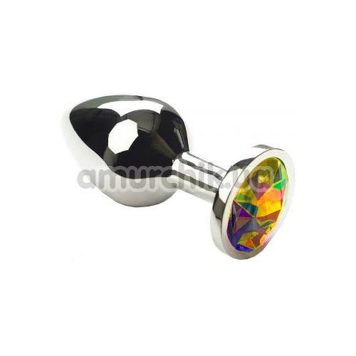 Анальная пробка с радужным кристаллом SWAROVSKI Silver Rainbow Middle, серебряная