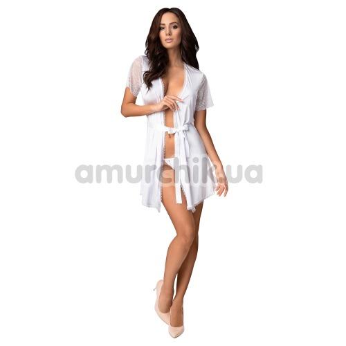 Комплект Obsessive Miamor белый: халат + трусики-стринги - Фото №1