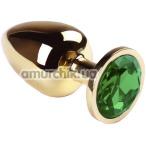 Анальная пробка с зеленым кристаллом SWAROVSKI Gold Chrysolite Big, золотая - Фото №1