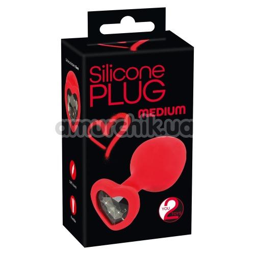 Анальная пробка с черным кристаллом Silicone Plug Medium, красная
