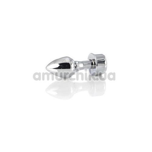 Анальная пробка с черным кристаллом Toyfa Metal 717031-5, серебряная