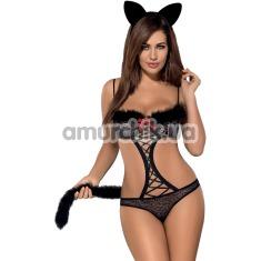 Костюм кошечки Obsessive Gepardina черный: боди+ хвостик + ушки - Фото №1