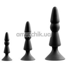 Набор анальных пробок Menz Stuff 3-Piece Anal Cone Set, черный - Фото №1