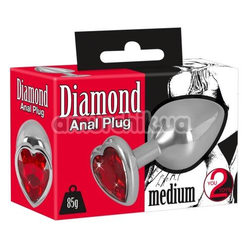 Анальная пробка с красным кристаллом Diamond Anal Plug Medium, серебряная