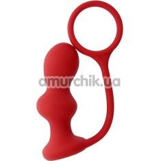 Анальная пробка с эрекционным кольцом Menz Stuff Ass Jacker, красная - Фото №1