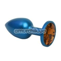Анальная пробка с оранжевым кристаллом SWAROVSKI Zcz, синяя матовая - Фото №1