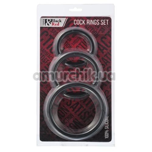 Набор из 3 эрекционных колец Black & Red Cock Rings Set, черный