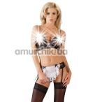 Костюм официантки Cottelli Collection Costumes 2470713 чёрно-белый: бюстгальтер + пояс для чулок - Фото №1