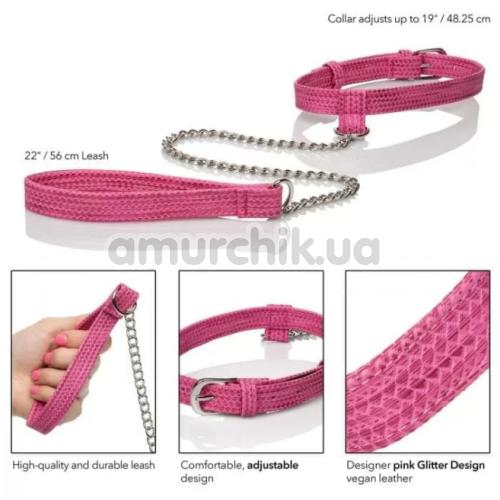 Ошейник с поводком Tickle Me Pink Collar with Leash, розовый