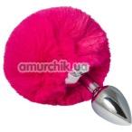Анальная пробка с розовым хвостиком sLash Honey Bunny Tail S, серебряная - Фото №1