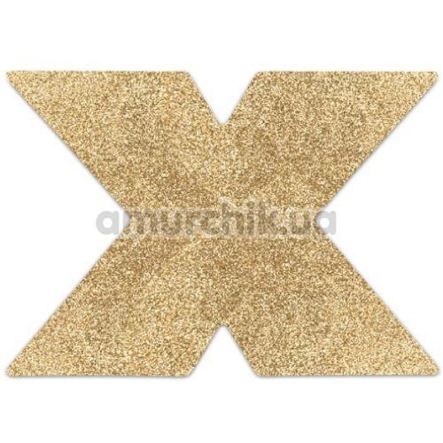 Украшения для сосков Bijoux Indiscrets Flash Glitter Pasties Cross, золотые