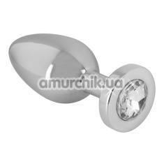 Анальная пробка с прозрачным кристаллом Sextreme Steel Diamond Putt Plug S , серебряная