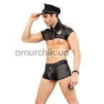 Костюм полицейского JSY Police 6607 чёрный: топ + трусы + фуражка + наручники - Фото №1