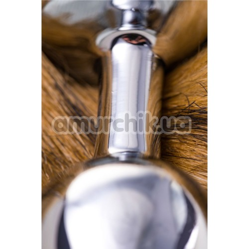 Анальная пробка с хвостиком Toyfa Metal, серебряная