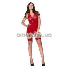Комплект Catchy Cabaret красный: комбинация + трусики-стринги - Фото №1