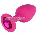 Анальная пробка с розовым кристаллом SWAROVSKI Zcz L, розовая