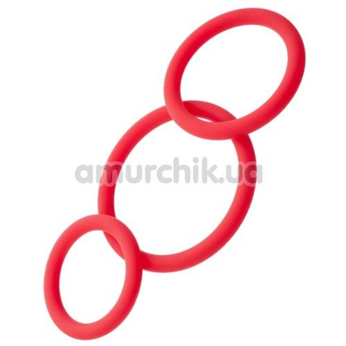 Набор из 3 эрекционных колец Black & Red Cock Rings Set, красный - Фото №1