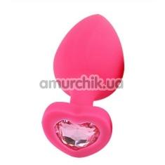 Анальная пробка с светло-розовым кристаллом Loveshop Seamless Butt Plug Heart M, розовая - Фото №1