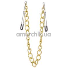 Зажимы для сосков с широкой цепочкой Lucky Bay Nipple Play Chain Heavy Metall, золотые - Фото №1