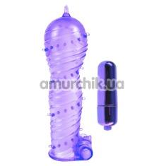 Вибронасадка на пенис Classix Textured Sleeve And Bullet, фиолетовая - Фото №1