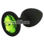 Анальная пробка с салатовым кристаллом SWAROVSKI Zcz М, черная - Фото №1