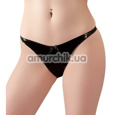 Трусики-стринги Black Level Crotchless Vinyl String, чёрные