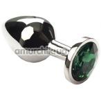 Анальная пробка с зеленым кристаллом SWAROVSKI Silver Emerald Middle, серебряная