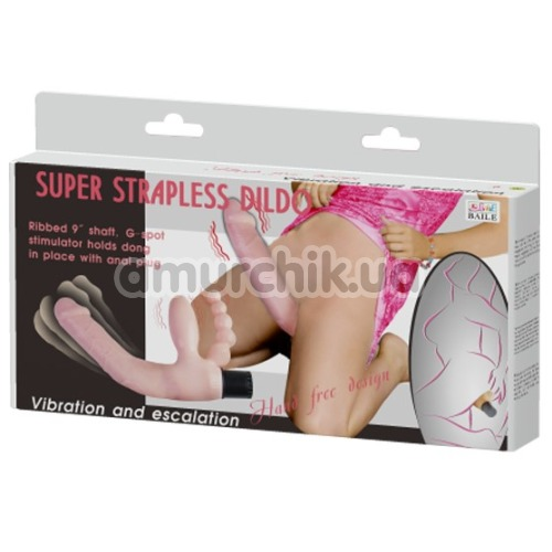 Безремневой страпон с вибрацией Super Strapless Dildo, розовый