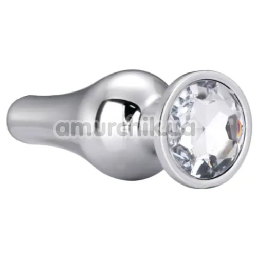 Анальная пробка с прозрачным кристаллом Gleaming Love Medium Pleasure Plug, серебряная