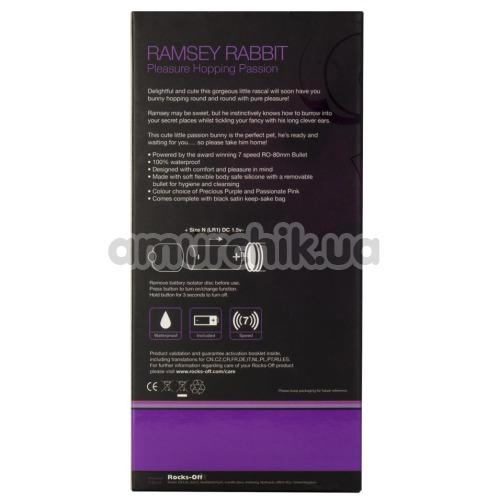 Клиторальный вибратор Rocks-Off Ramsey Rabbit Pleasure 7 Speed Hopping Passion, фиолетовый