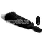 Анальная пробка с вибрацией и хвостом Tailz Waggerz, черная - Фото №1