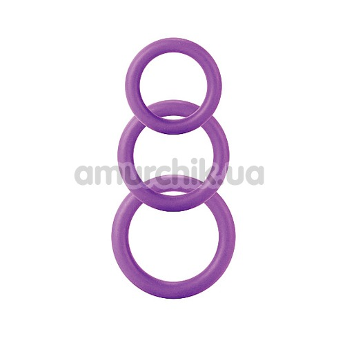 Набор эрекционных колец Cock&Ball Rings Rubber Set, 3 шт фиолетовый - Фото №1