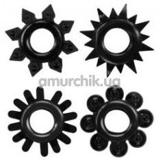 Набор из 4 эрекционных колец Get Lock Cock Rings Set, черный - Фото №1