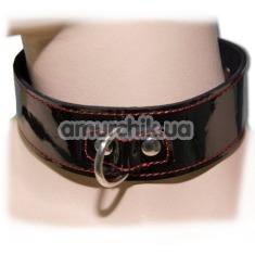 Узкий лакированный ошейник с креплением для поводка, черно-красный - Фото №1