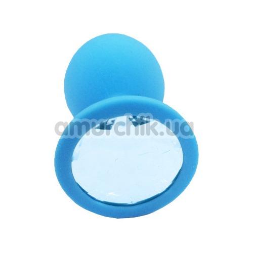 Анальная пробка с голубым кристаллом SWAROVSKI Пикантные Штучки Large, голубая