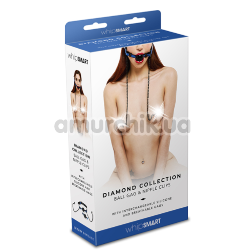 Кляп с зажимами для сосков Whipsmart Diamond Collection Ball Gag & Nipple Clips, синий