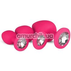 Набор анальных пробок с прозрачными кристаллами Luxe Bling Plugs Trainer Kit, розовый - Фото №1