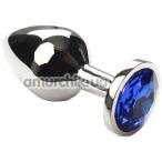 Анальная пробка с синим кристаллом SWAROVSKI Silver Sapphire Middle, серебряная