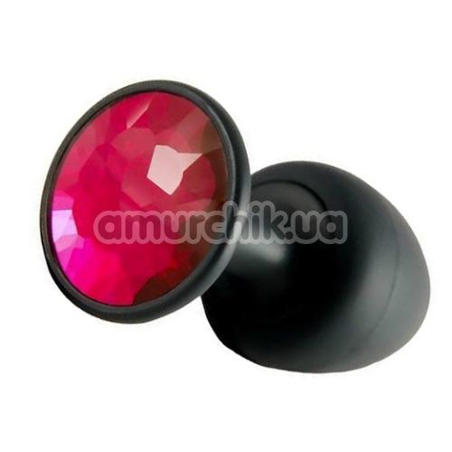Анальная пробка с розовым кристаллом Dorcel Geisha Plug M, черная - Фото №1