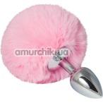 Анальная пробка со светло-розовым хвостиком sLash Honey Bunny Tail S, серебряная