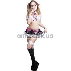 Костюм школьницы JSY 2291: юбка + топ + чулки + трусики + галстук + очки + ленты - Фото №1