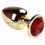 Анальная пробка с красным кристаллом SWAROVSKI Gold Ruby Big, золотая - Фото №1