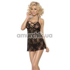 Комплект Mini Dress & String черный: комбинация + трусики-стринги (модель R565010) - Фото №1