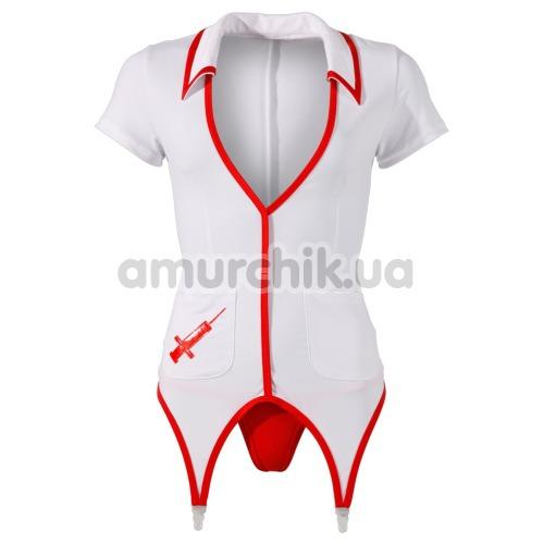 Костюм медсестры Cottelli Collection Costumes белый: халатик + трусики-стринги