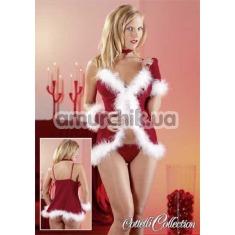 Костюм снегурочки Cottelli Collection 2260271 красный: пеньюар + трусики-стринги + перчатки + чокер - Фото №1