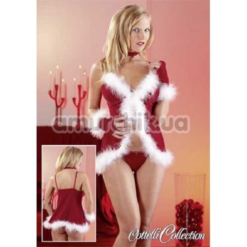 Костюм снегурочки Cottelli Collection 2260271 красный: пеньюар + трусики-стринги + перчатки + чокер